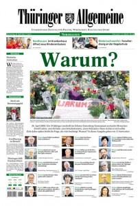Zehn Jahre nach dem Amoklauf in Erfurt: So machte die Thüringer Allgemeine die Titelseite auf.