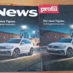 Zwei Nachrichten-Magazine mit identischer Titelseite: Anzeigen von VW
