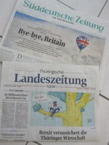 Tag nach dem Brexit: Titelseite von SZ und Thüringischer Landeszeitung
