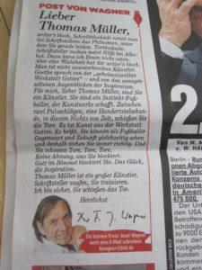Post von Wagner in Bild: Lieber Thomas Müller