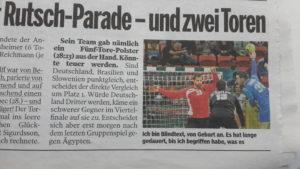 Bild am Sonntag (BamS) vom 14. August 2016: Die Bildzeile zum Handball-Spiel als Blindtext.