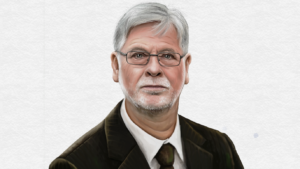 Der Autor dieses Blogs (mit Krawatte). Zeichnung: Anke Krakow