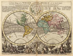 """1736 brachte der Brite Hermann Moll seinen """"Atlas Mirror"""" heraus mit der Weltkarte und den vorherrschenden Seewinden. Grafik: Wikipedia"""